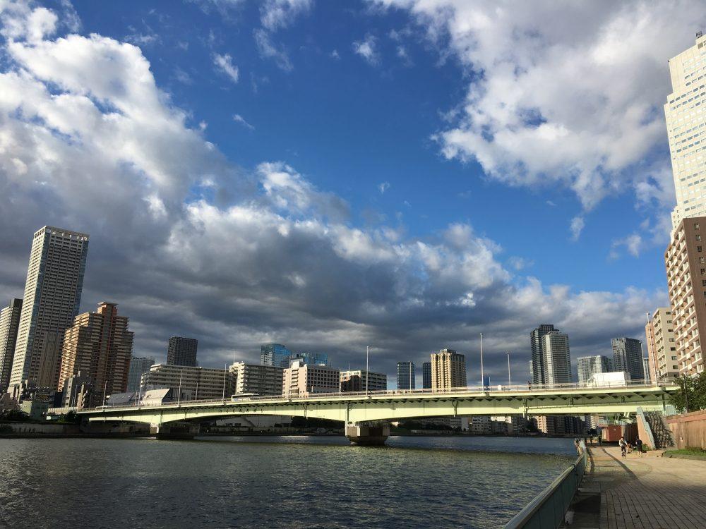 上流側から佃大橋