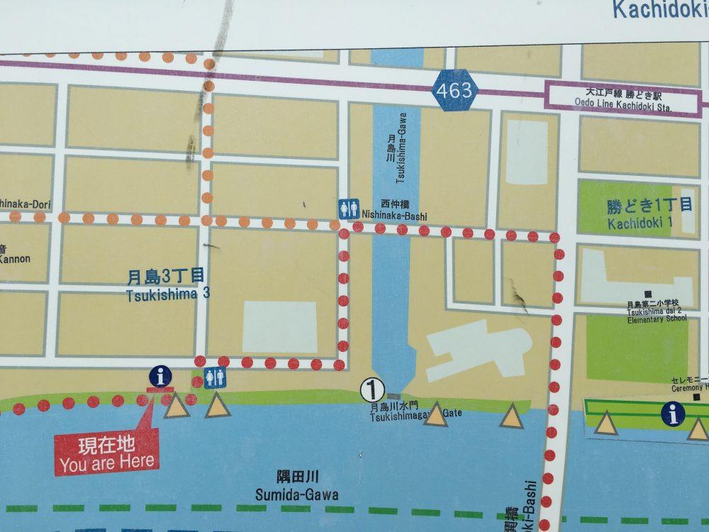 月島川水門地図