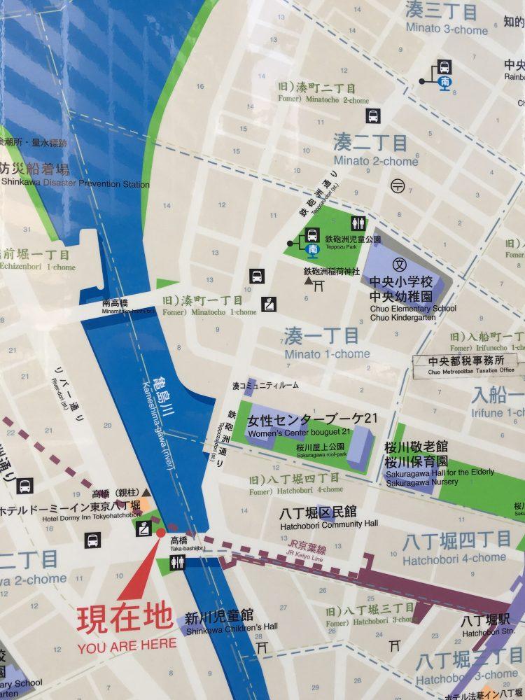 高橋から鉄砲洲へ地図