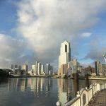 江戸港発祥の地からの眺め、ここから汽船も出航していた。
